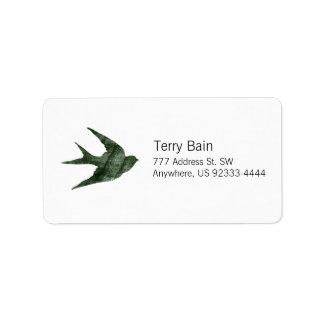 Swallow (Letterpress Style) Personalized Address Label