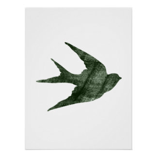 Swallow (Letterpress Style) Poster