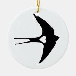 Swallow My Heart Ceramic Ornament