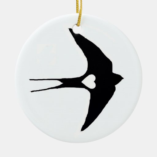 Swallow My Heart Double-Sided Ceramic Round Christmas Ornament