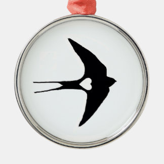 Swallow My Heart Round Metal Christmas Ornament