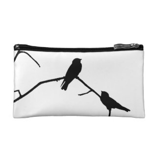 Swallow or Swifts Silhouette Love Bird Watching Cosmetic Bag