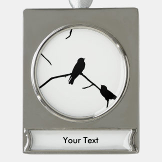 Swallow or Swifts Silhouette Love Bird Watching Silver Plated Banner Ornament