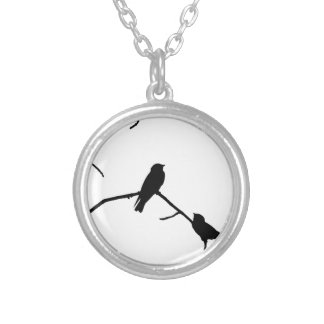 Swallow or Swifts Silhouette Love Bird Watching Silver Plated Necklace