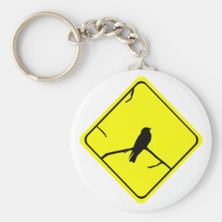 Swallow or Swifts Warning Sign Love Bird Watching Keychain