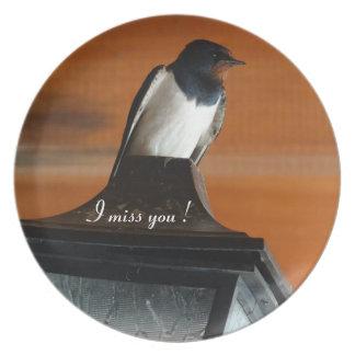Swallow Photo I miss You Melamine Plate