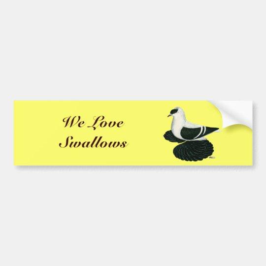Swallow:  Saxon Black White Bar Bumper Sticker