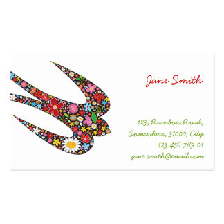 Swallow Spring Flowers Profile Card Template Double-Sided Standard Business Cards (Pack Of 100)