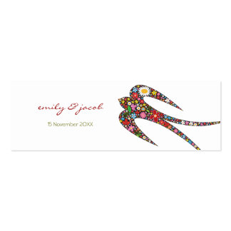 Swallow Spring Flowers Thank You / Favor /Gift Tag Double-Sided Mini Business Cards (Pack Of 20)