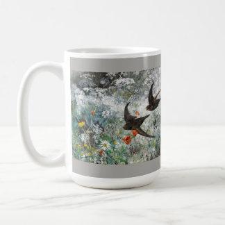 Swallow Swift Birds Wildflower Flower Wildlife Mug