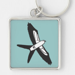 Premium Square Keychain with Stylized Swallow-tailed Kite design