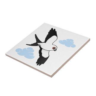 Swallow-tailed Kite in flight Ceramic Tile