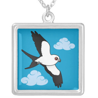 Swallow-tailed Kite in flight Silver Plated Necklace