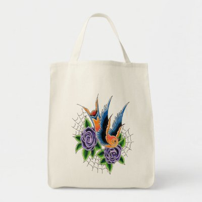 Swallow Tote Bag by Betty Voodoo This organic tote features new school
