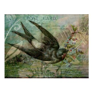 Swallow with Flowers Post Card