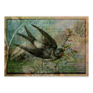 Swallow with Flowers Poster