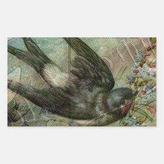 Swallow with Flowers Rectangular Sticker