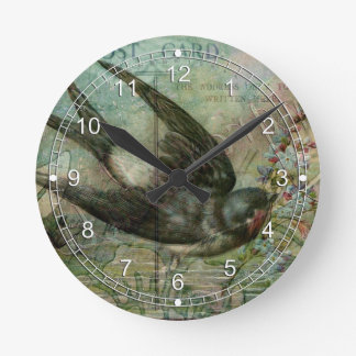 Swallow with Flowers Round Clock