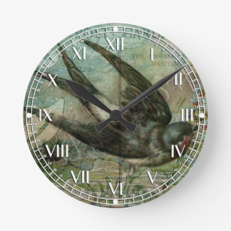 Swallow with Flowers Round Wall Clock