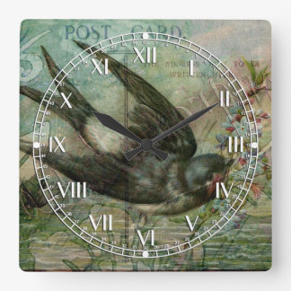 Swallow with Flowers Square Wall Clock
