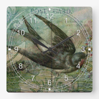 Swallow with Flowers Square Wall Clocks