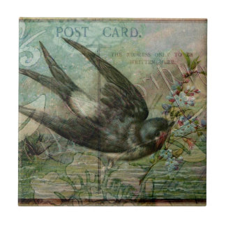 Swallow with Flowers Tile