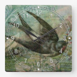 Swallow with Flowers Wallclock
