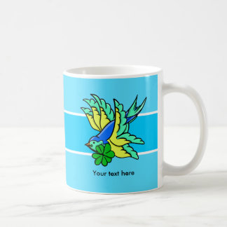Swallow With Lucky For Leaf Clover Shamrock Coffee Mug