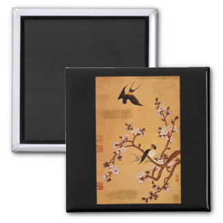 Swallows and Flowering Branches_The Orient 2 Inch Square Magnet
