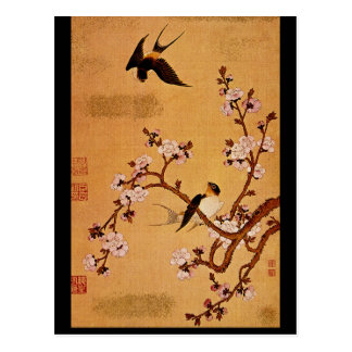 Swallows and Flowering Branches_The Orient Postcard