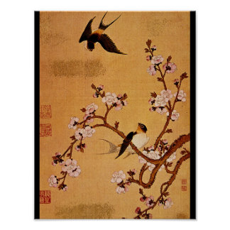 Swallows and Flowering Branches_The Orient Poster