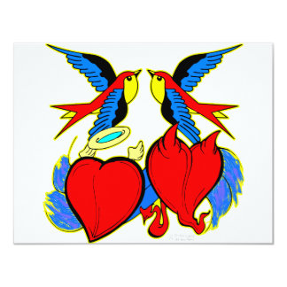 Swallows and Hearts Tattoo Card
