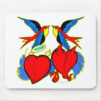 Swallows and Hearts Tattoo Mousepad