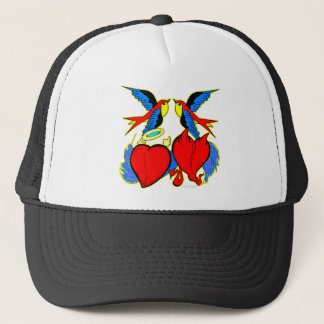 Swallows and Hearts Tattoo Trucker Hat