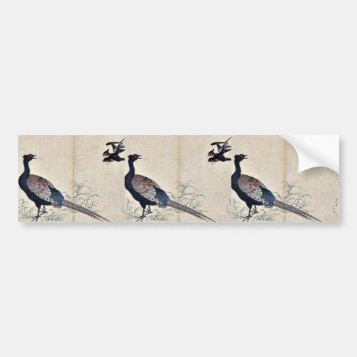 Swallows and pheasant by Kitagawa, Utamaro Ukiyoe Car Bumper Sticker