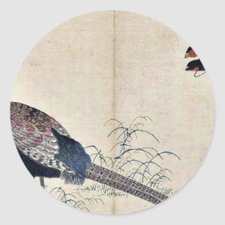 Swallows and pheasant by Kitagawa, Utamaro Ukiyoe Classic Round Sticker