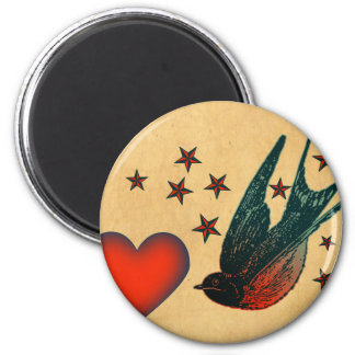 Swallows and Stars 2 Inch Round Magnet