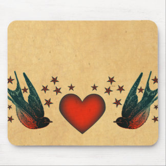 Swallows and Stars Mouse Pad