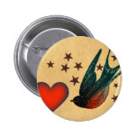 Swallows and Stars Pinback Buttons