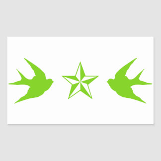 Swallows and Stars Rectangular Sticker