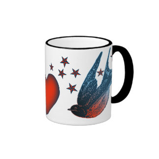 Swallows and Stars Ringer Mug