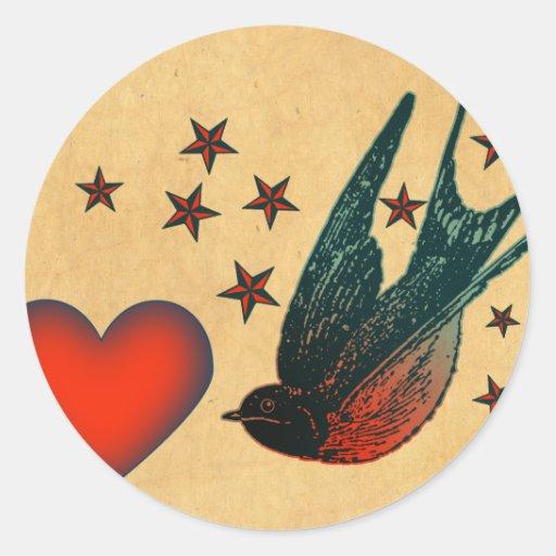 Swallows and Stars Round Sticker