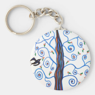 Swallows and the orange tree keychain