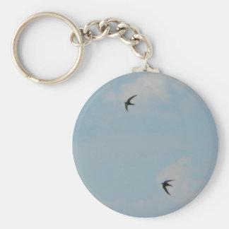 Swallows Birds Basic Round Button Keychain