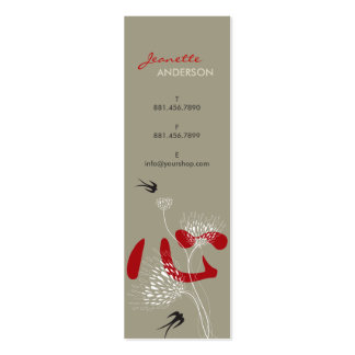 Swallows Birds Chinese Heart Oriental Kanji Floral Double-Sided Mini Business Cards (Pack Of 20)