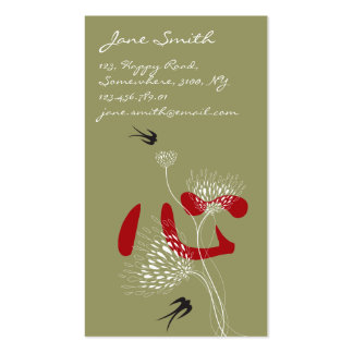 Swallows Birds Chinese Heart Oriental Kanji Floral Double-Sided Standard Business Cards (Pack Of 100)