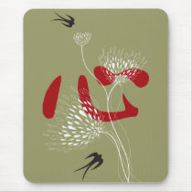 Swallows Birds Chinese Heart Oriental Kanji Floral Mouse Pad