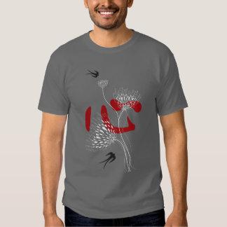 Swallows Birds Chinese Heart Oriental Kanji Floral T-shirt