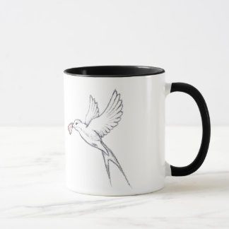 Swallows & hearts mug
