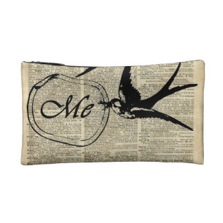 Swallows In Love Over Old Dictionary Book Page Makeup Bag